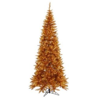 4.5' Pre Lit Copper Tinsel Fir Slim Artificial Christmas Tree   Clear Lights