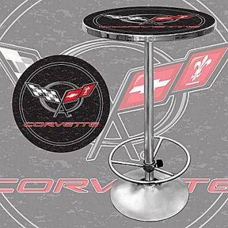 Trademark Global 28 Solid Wood/Chrome Pub Table, Black, Corvette C6
