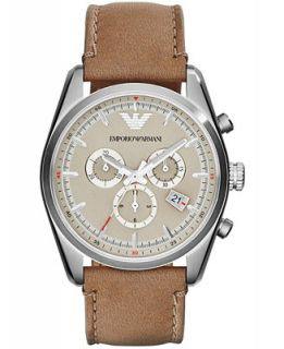 Emporio Armani Unisex Chronograph Taupe Leather Strap Watch 43mm
