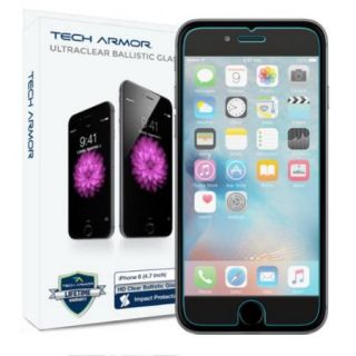 "iPhone 6S Screen Protector, Tech Armor Apple iPhone 6 (4.7"") HD Clear Ballistic Glass (.3mm)   Maximize Resale Value   99.99% Clarity And Touchscreen"