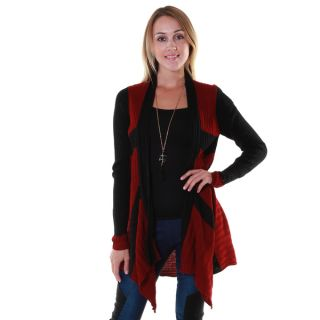 Hadari Womens Rib Knit Two Tone Cardigan   16799486