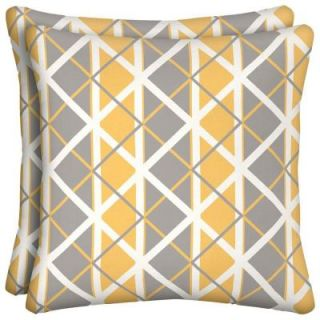 Hampton Bay Seville Lattice Outdoor Throw Pillow (2 Pack) JF26554B D9D2