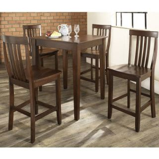 Crosley Furniture KD520007MA 5 Piece Pub Dining Set with Tapered Leg and School House Stools in Vintage Mahogany Finish