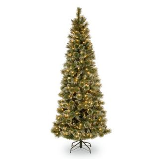 Glittery Bristle Pine 7.5 Green Slim Artificial Christmas Tree with