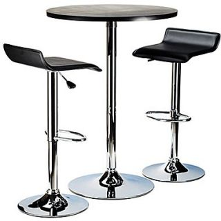 Winsome Spectrum 39.76 x 23.66 x 23.66 MDF Round Pub Table With 2 Air Lift Stool, Black