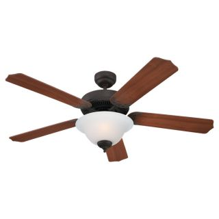 Sea Gull Lighting Quality Max Plus 52 in Misted Bronze Downrod or Flush Mount Ceiling Fan with Light Kit ENERGY STAR