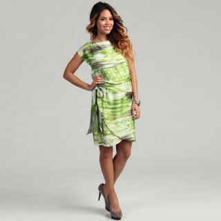 Jessica Howard Womens Belted Blouson Watercolor Printed Dress