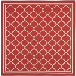 Safavieh Indoor/ Outdoor Courtyard Red/ Bone Rug (53 Square