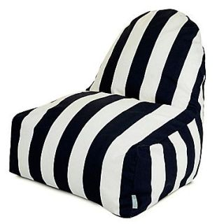 Majestic Home Goods Indoor/Outdoor Vertical Stripe Polyester Kick It Bean Bag Chair, Black