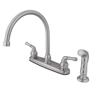 Kingston Brass Magellan Satin Nickel 2 Handle High Arc Kitchen Faucet with Side Spray