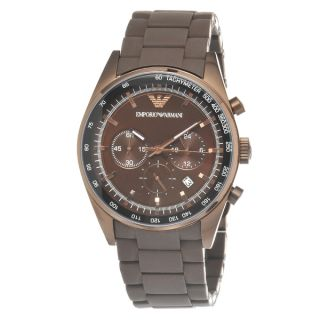 Emporio Armani Mens Brown Stainless Steel Chronograph Watch