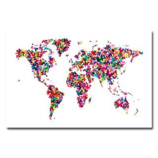 Michael Tompsett Butterflies World Map II Canvas Art   14999057