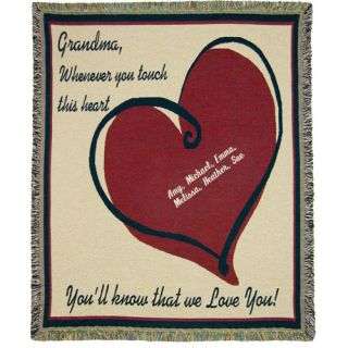 Personalized Grandma We Love You cotton tapestry throw