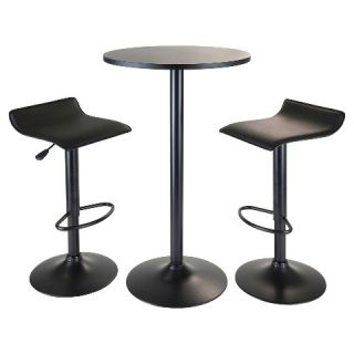 Piece Obsidian Bar Height Pub Table Set with Air Lift Adjustable