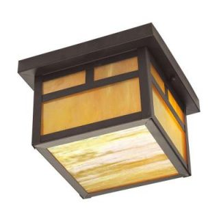 Livex Lighting Providence Collection 1 Light 5.5 in. Outdoor Bronze Iridescent Tiffany Glass Flush Mount 2138 07