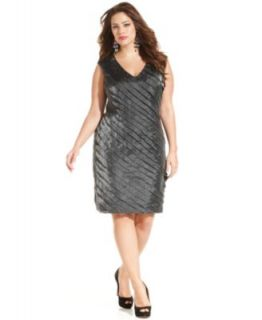 Jessica Howard Plus Size Dress, Short Split Sleeve Belted Sequin Lace