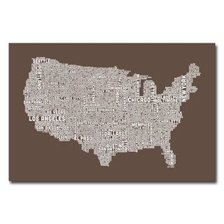 Michael Tompsett Typography World Map II Canvas Art   14999112