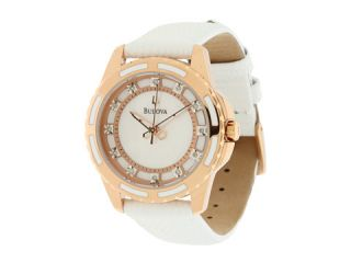 Bulova Ladies   98P119 White/Stainless Steel & Rose Gold/Mother of Pearl & Diamonds