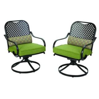 Hampton Bay Fall River Motion Patio Dining Chair with Moss Cushions (2 Pack) DY11034 DR 2