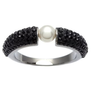 Black Swarovski Crystal and White Faux Pearl Piano Ring