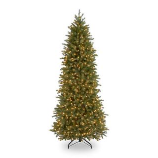 7 1/2 foot Poly Jersey Fraser Pencil Slim Fir Hinged Tree with 650 Clear Lights    National Tree Company