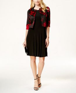Jessica Howard Petite Sleeveless Dress and Floral Print Jacket