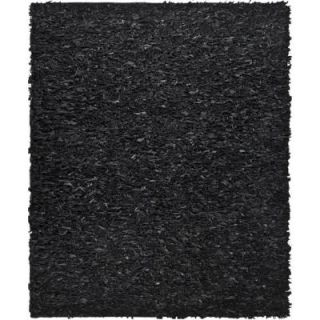 Safavieh Leather Shag Black 6 ft. x 9 ft. Area Rug LSG511A 6