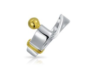 Christmas Gifts Bling Jewelry Sterling Silver and Gold Plated Hook and Eye Ring