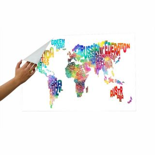 World Map Word Wall Mural by Americanflat