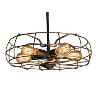 Edison Ingrid Collection 5 Light Rusty Steel Indoor Flush Mount LD 4222