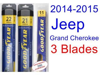 2014 2015 Jeep Grand Cherokee Replacement Wiper Blade Set/Kit (Set of 3 Blades) (Goodyear Wiper Blades Assurance)