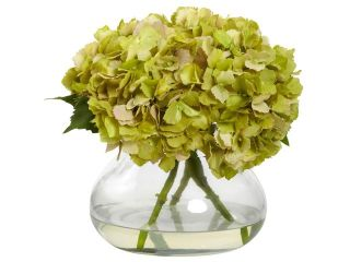 Nearly Natural Large Blooming Hydrangea With Vase In Green