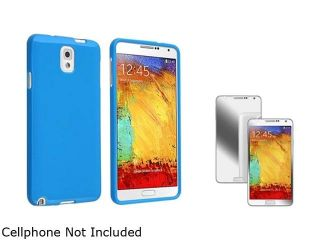 Insten Blue Jelly TPU Case with Mirror Screen Protector Compatible with Samsung Galaxy Note III Note 3 N9000 1457906