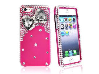 Insten Diamonds with 3D Hot Pink Bow Tie Snap on Case Cover + 2 LCD Kit Mirror Screen Protector compatible with Apple iPhone 5