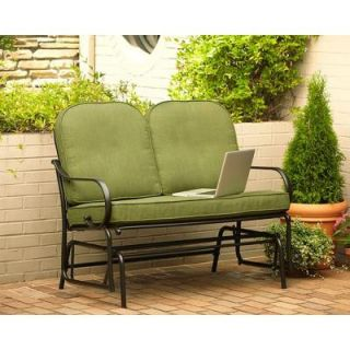 Hampton Bay Fall River Patio Double Glider with Moss Cushion D11034 G