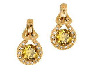 1.80 Ct Round Champagne Quartz Sapphire Gold Plated Sterling Silver  Earrings