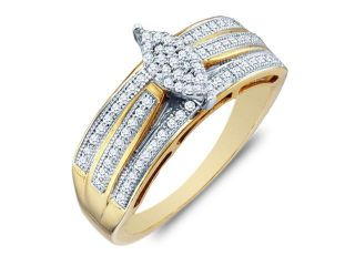 .925 Sterling Silver Plated in White Gold Rhodium Yellow and White Two Tone Gold Diamond Engagement Ring Band   Marquise Shape Center Setting w/ Micro Pave Set Round Diamonds   (1/4 cttw, G H, SI2)