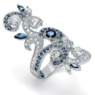 PalmBeach 1.68 TCW Round Cubic Zirconia and Blue Crystal Swirl Ring in