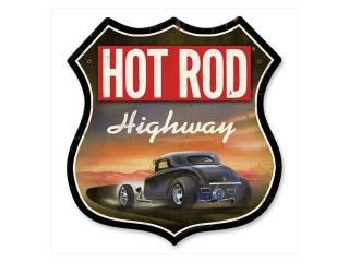 Past Time Signs HRM081 Hot Rod Highway Automotive Shield Metal Sign