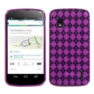 INSTEN Hot Pink Argyle Pane Candy Skin Phone Case Cover for LG E960