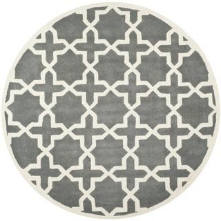 Safavieh Cross Pattern Handmade Moroccan Dark Grey Wool Rug (7 Round