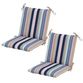 Hampton Bay Hudson Stripe Mid Back Outdoor Dining Chair Cushion (2 Pack) 7410 02225500