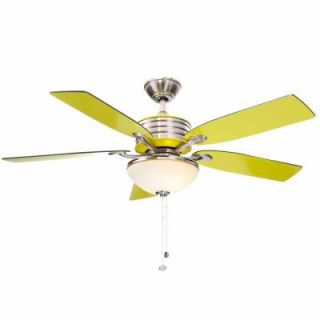 Hampton Bay Santa Cruz 52 in. Brushed Nickel Ceiling Fan with Green Accents AG712 BN+GN