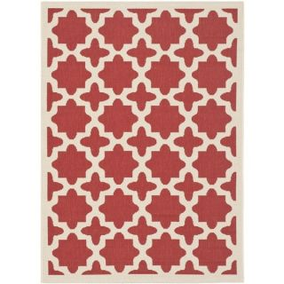 Contemporary Safavieh Indoor/ Outdoor Courtyard Red/ Bone Rug (67 x 9