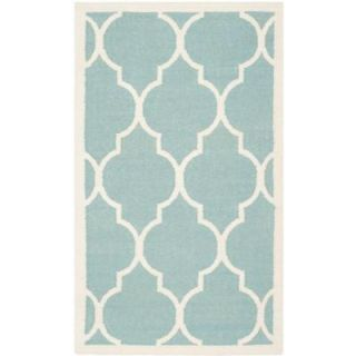 Safavieh Dhurries Light Blue/Ivory 4 ft. x 6 ft. Area Rug DHU632C 4