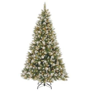 National Tree Company 7 1/2 ft. Feel Real Frosted Alaskan Pine Hinged Artificial Christmas Tree with 550 Clear Lights PEFAP7 308 75