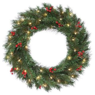 National Tree Company 30 in. Noble Artificial Wreath with 50 Clear Lights DC3 162L 30W