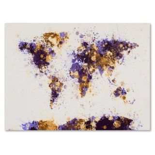 Michael Tompsett Paint Splashes World Map 4 Canvas Art   15503428