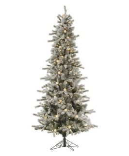 Vickerman Flocked Slim Pre lit London Christmas Tree   Christmas Trees