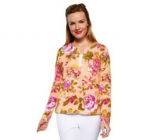 Isaac Mizrahi Live Crochet Neck Cottage Rose Print Cardigan —